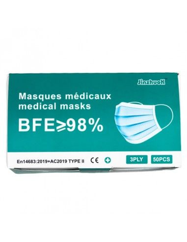Masque médical 3 plis Type II 98%